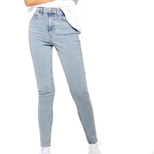 Topshop Moto petite Leigh light wash rolled jeans